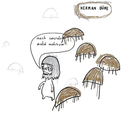 Mash concrete metal mushroom